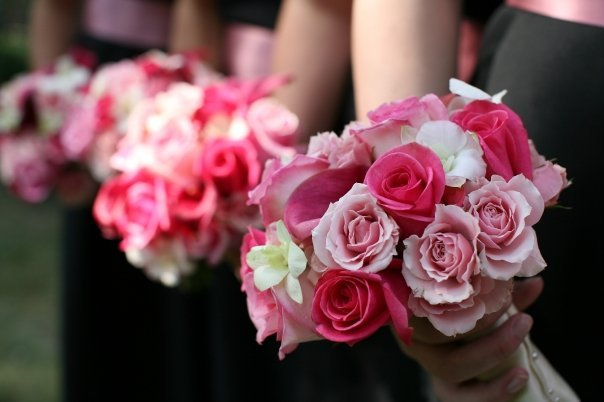 Flowers & Decor, Bridesmaids, Bridesmaids Dresses, Fashion, white, pink, black, Bridesmaid Bouquets, Flowers, Bouquets, Flower Wedding Dresses