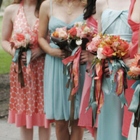 Flowers & Decor, Bridesmaids, Bridesmaids Dresses, Wedding Dresses, Fashion, pink, blue, brown, dress, Bridesmaid Bouquets, Spring, Flowers, Ribbon, Bouquets, Aqua, Coral, Bohemian, Mocha rose floral designs, Spring Wedding Dresses, Flower Wedding Dresses