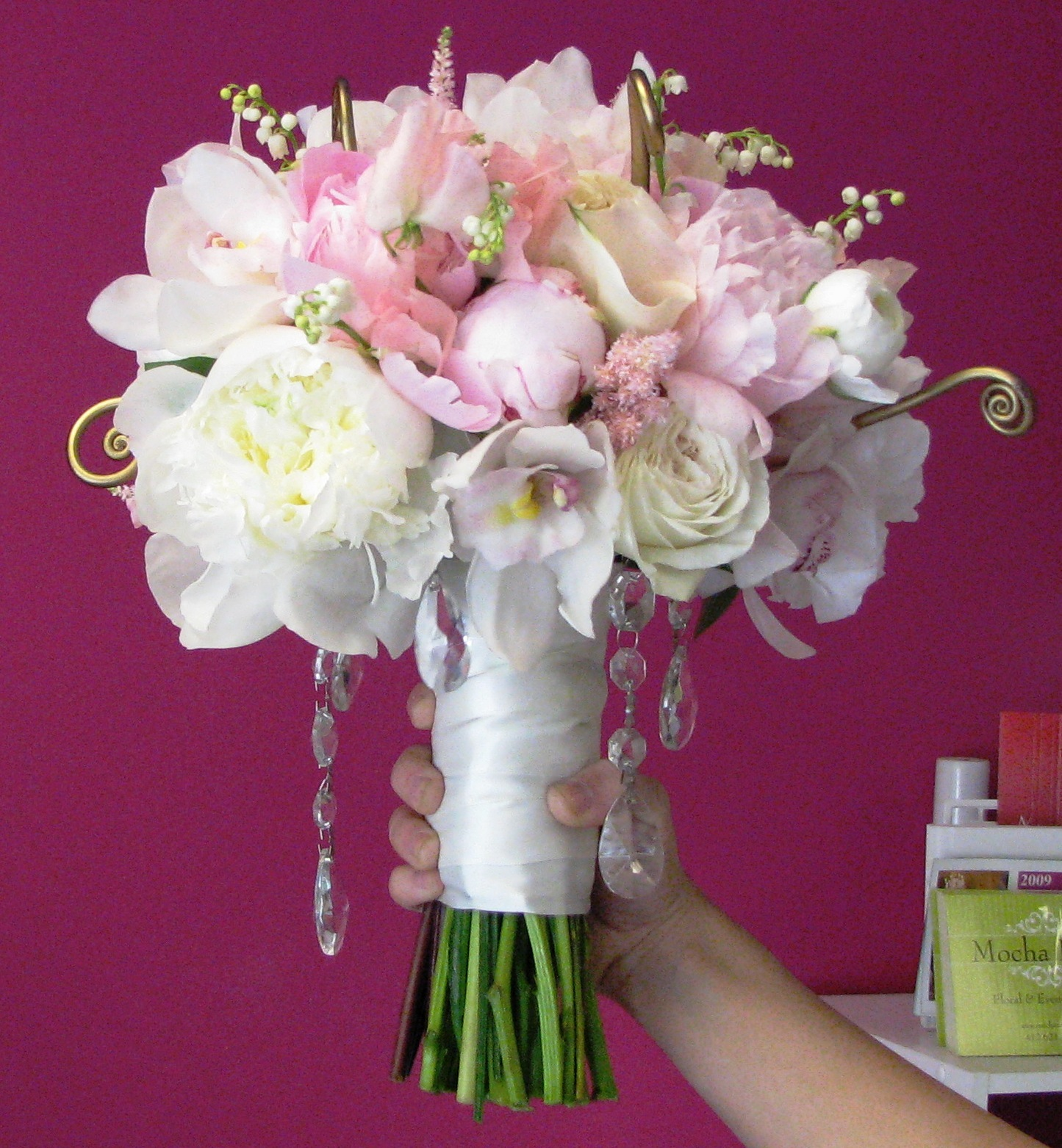 Wedding Flowers Pink And Gold : Elegant peony and crystal bouquetvendors mocha rose floral