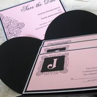 Stationery, pink, black, silver, Invitations, Custom, The, Save, Date, Say something designs