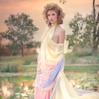 Wedding Dresses, Fashion, yellow, orange, pink, purple, dress, Gown, Train, Couture, Chiffon, Silk, Rainbow, David joseph designs, Ombre, Chiffon Wedding Dresses, Silk Wedding Dresses