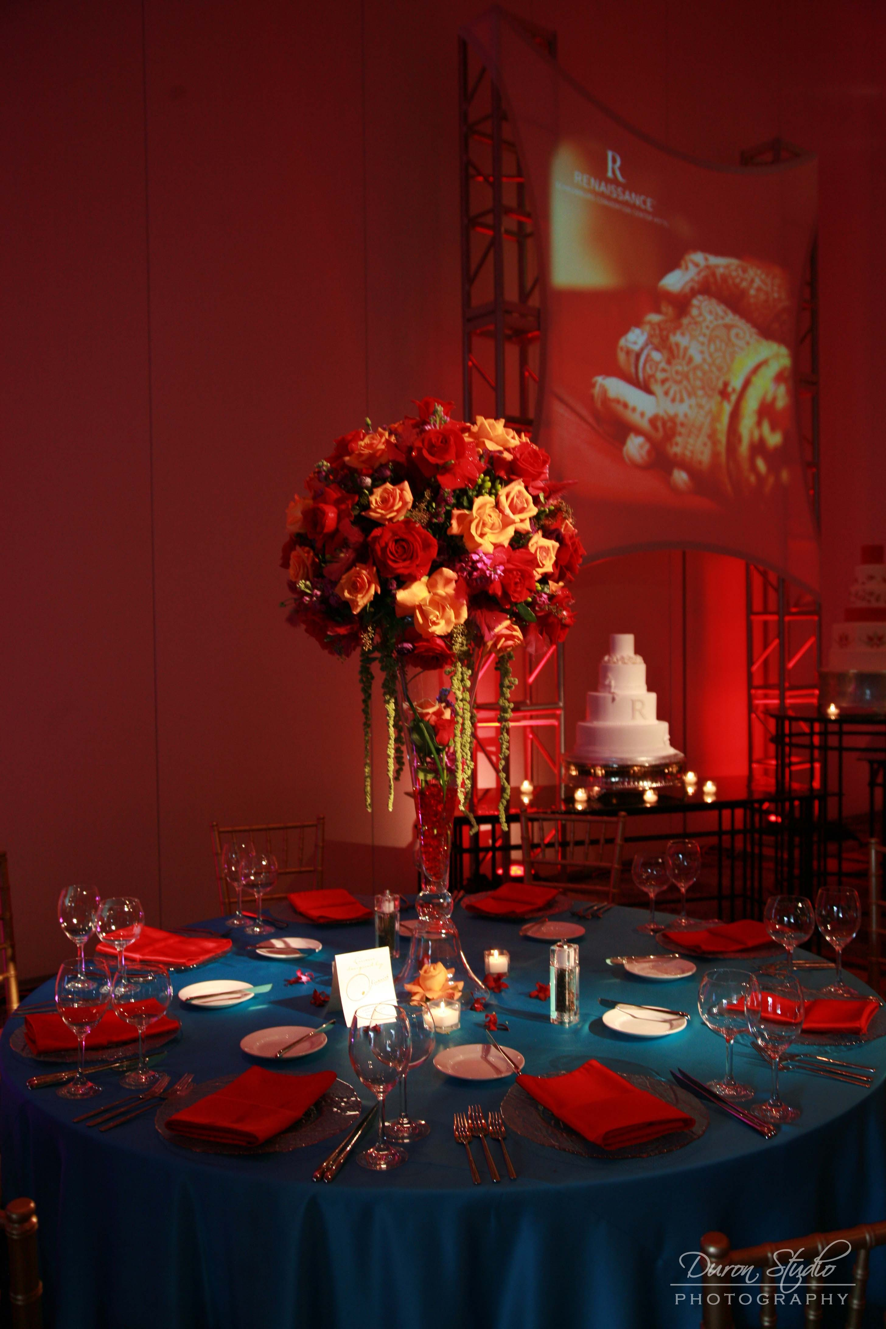 Flowers & Decor, red, blue, gold, Tables & Seating, Chairs, Linen, Chivari, Oliveaire artisan events meetings