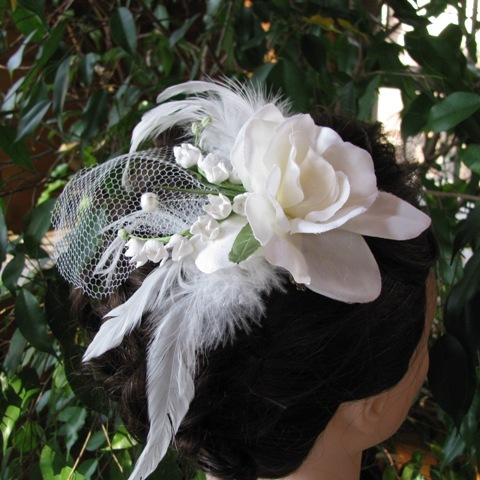 Beauty, Flowers & Decor, white, ivory, Feathers, Bride, Flower, Custom, Romantic, Hair, Bridal, Floral, Weddings, Headpiece, Piece, Handmade, Feather, Originals by lynnette