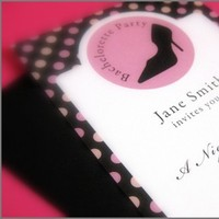 Stationery, white, pink, black, invitation, Invitations, Custom, Party, Bachelorette, Girly, Stiletto, Jolie papeterie boutique
