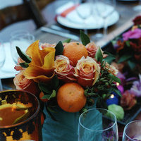 Reception, Flowers & Decor, orange, blue, green, Flowers
