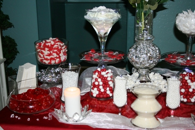 Reception, Flowers & Decor, white, red, silver, Wedding, Candy, Buffet, Buffets, Sweet i dos