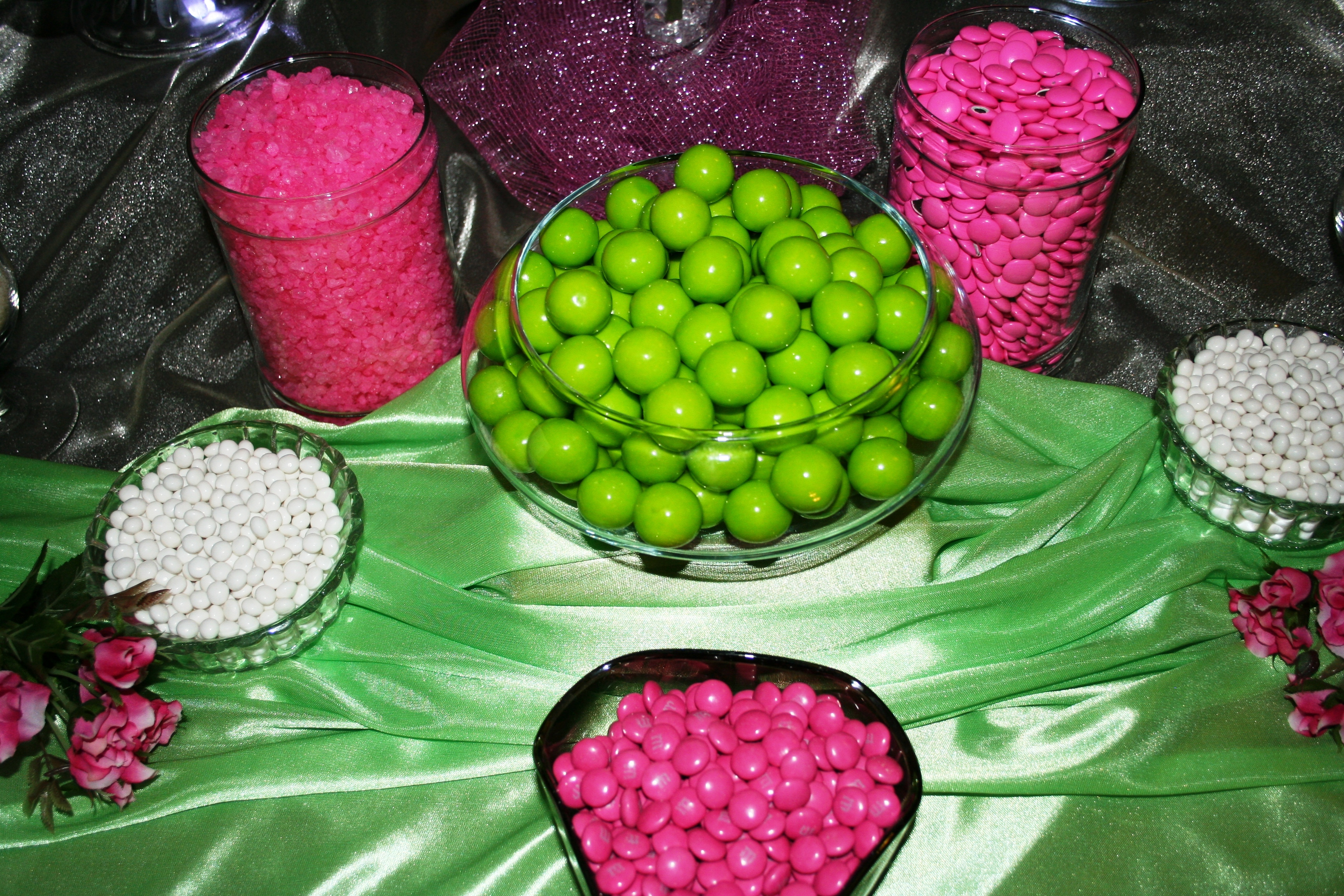 Reception, Flowers & Decor, pink, green, Wedding, Candy, Buffet, Buffets, Sweet i dos