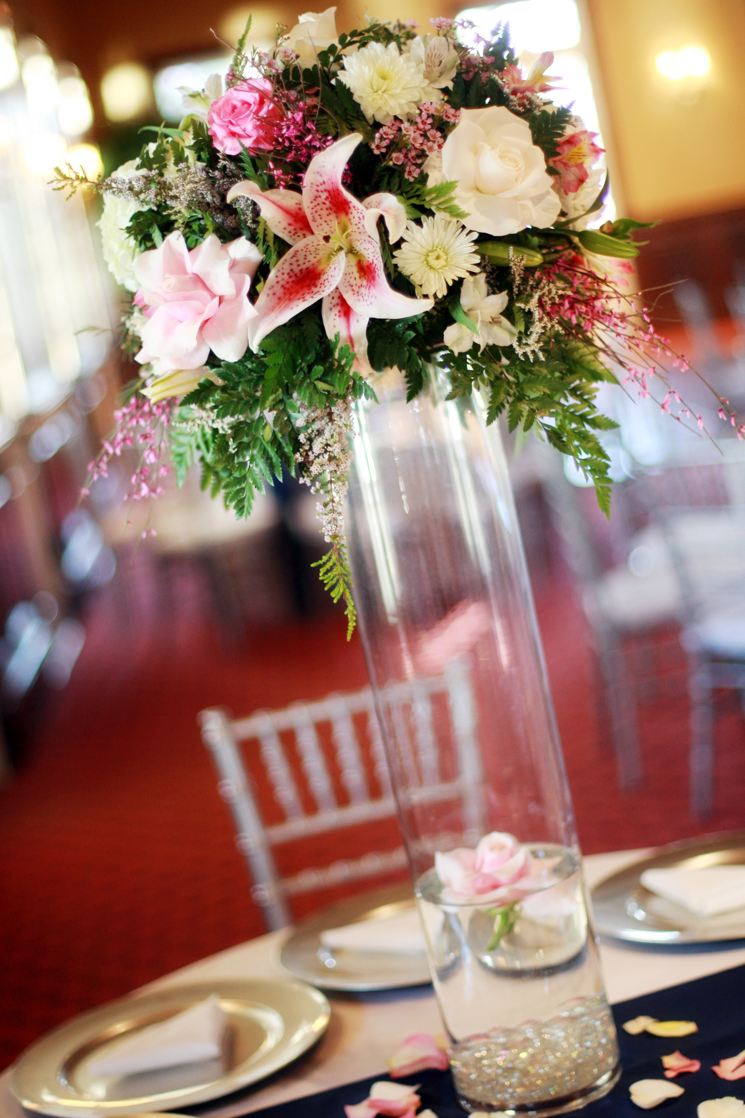 Reception, Flowers & Decor, white, pink, blue, silver, Centerpieces, Flowers, Centerpiece, Table, Water, Lily, Floating, Chargers, Setting, Stargazer, Navy