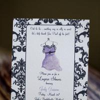 Stationery, purple, black, Invitations, Wedding, Shower, Lingerie, Tickled ink, Invtitations