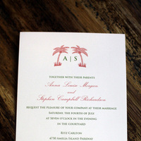 Stationery, pink, green, invitation, Invitations, Wedding, Tree, Palm, Tickled ink