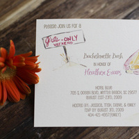 Stationery, yellow, pink, Invitations, Bachelorette, Tickled ink