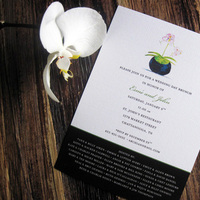 Stationery, white, pink, green, black, Invitations, Orchid, Wedding, Brunch, Tickled ink