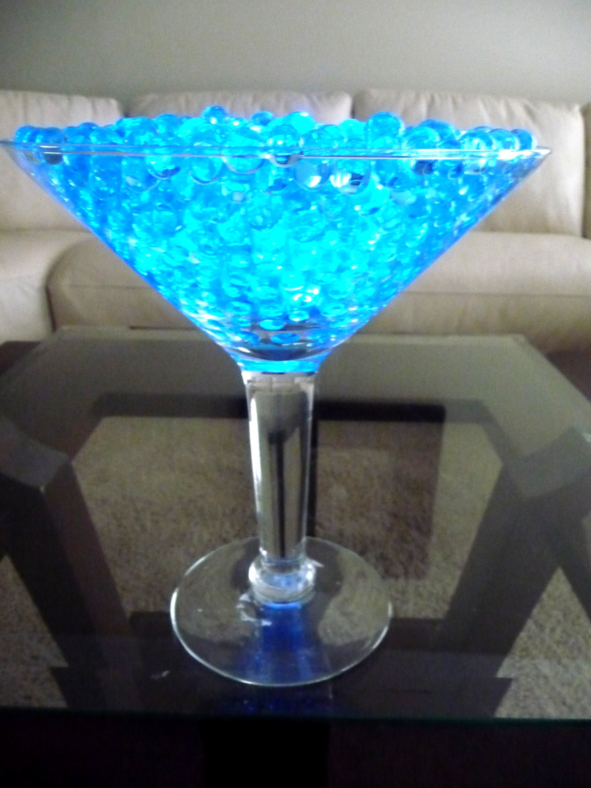 Grande Martini Glasses With Teal Acrylic Beading And LED Light Inexpensive And Flashyvendors