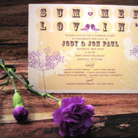 Stationery, yellow, purple, invitation, Summer, Garden Wedding Invitations, Invitations, Wedding, Birds, Retro, Tickled ink