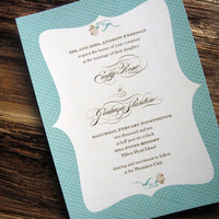 Flowers & Decor, Stationery, blue, brown, Modern Wedding Invitations, Invitations, Flower, Wedding, Tickled ink
