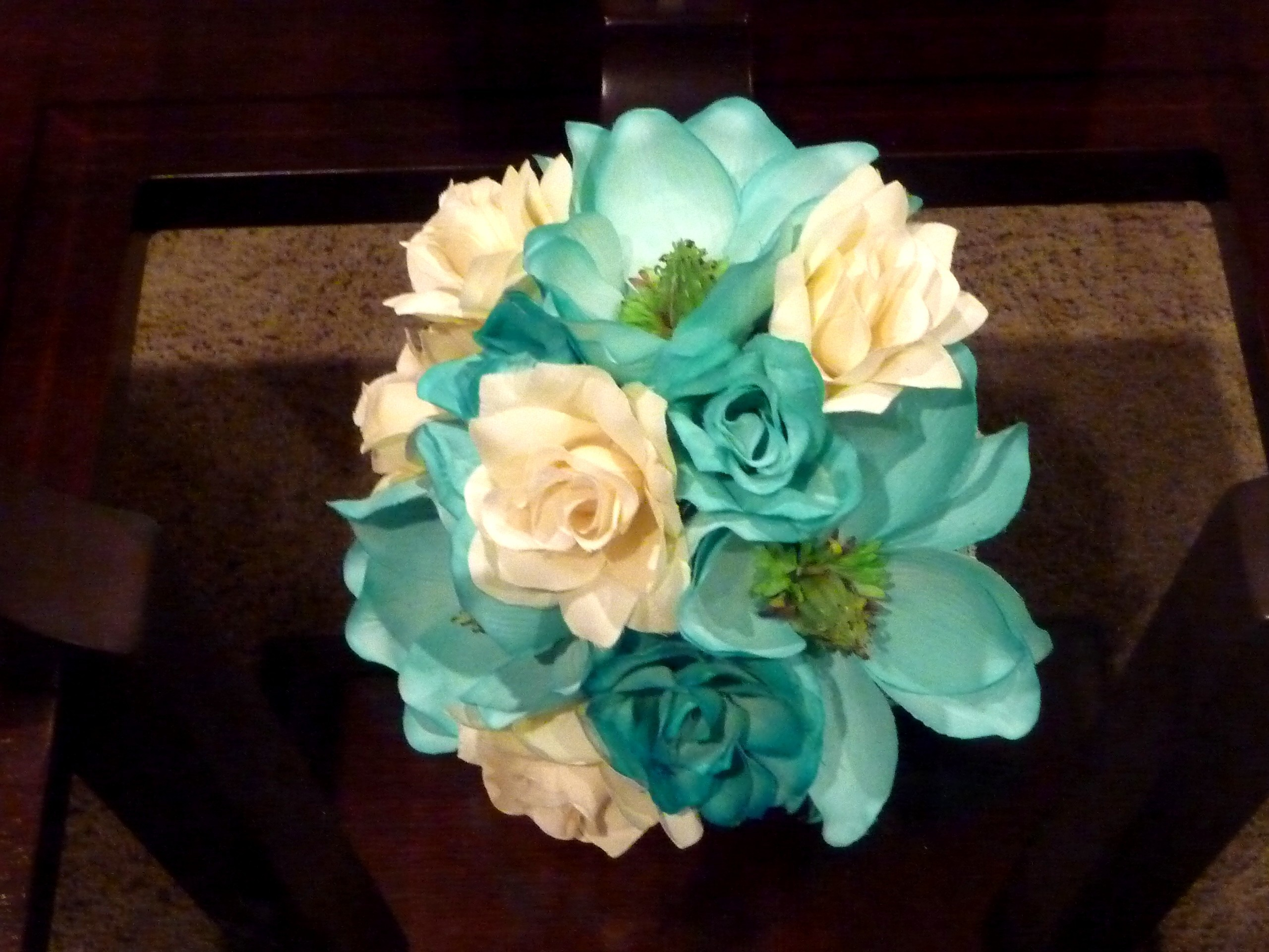 Ceremony, Reception, Flowers & Decor, Bridesmaids, Bridesmaids Dresses, Fashion, white, blue, Ceremony Flowers, Bridesmaid Bouquets, Centerpieces, Flowers, Wedding, Bridal, Teal, Bouquets, Turquoise, Silk, Savannah event decor, Flower Wedding Dresses, Silk Wedding Dresses