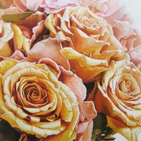 Inspiration, Flowers & Decor, orange, pink, Bride Bouquets, Flowers, Bouquet, Custom, Gift, Unique, Peach, Rose, Board, Photo, Preservation, Painting, Memorabilia, Reenie rose, Reenie