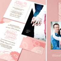 Stationery, pink, brown, Announcements, Invitations, Announcement, Daisies, Cute, Gerbera, Minelolly