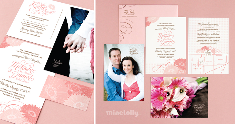 Stationery, pink, brown, invitation, Announcements, Invitations, Wedding, Custom, Design, Announcement, Daisies, Gerbera, Minelolly, Minelolly llc