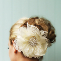 Beauty, Flowers & Decor, Updo, Flower, Hair, Lace, Pearls, Cream, Fascinator, Piece, Minelolly, Minelolly llc