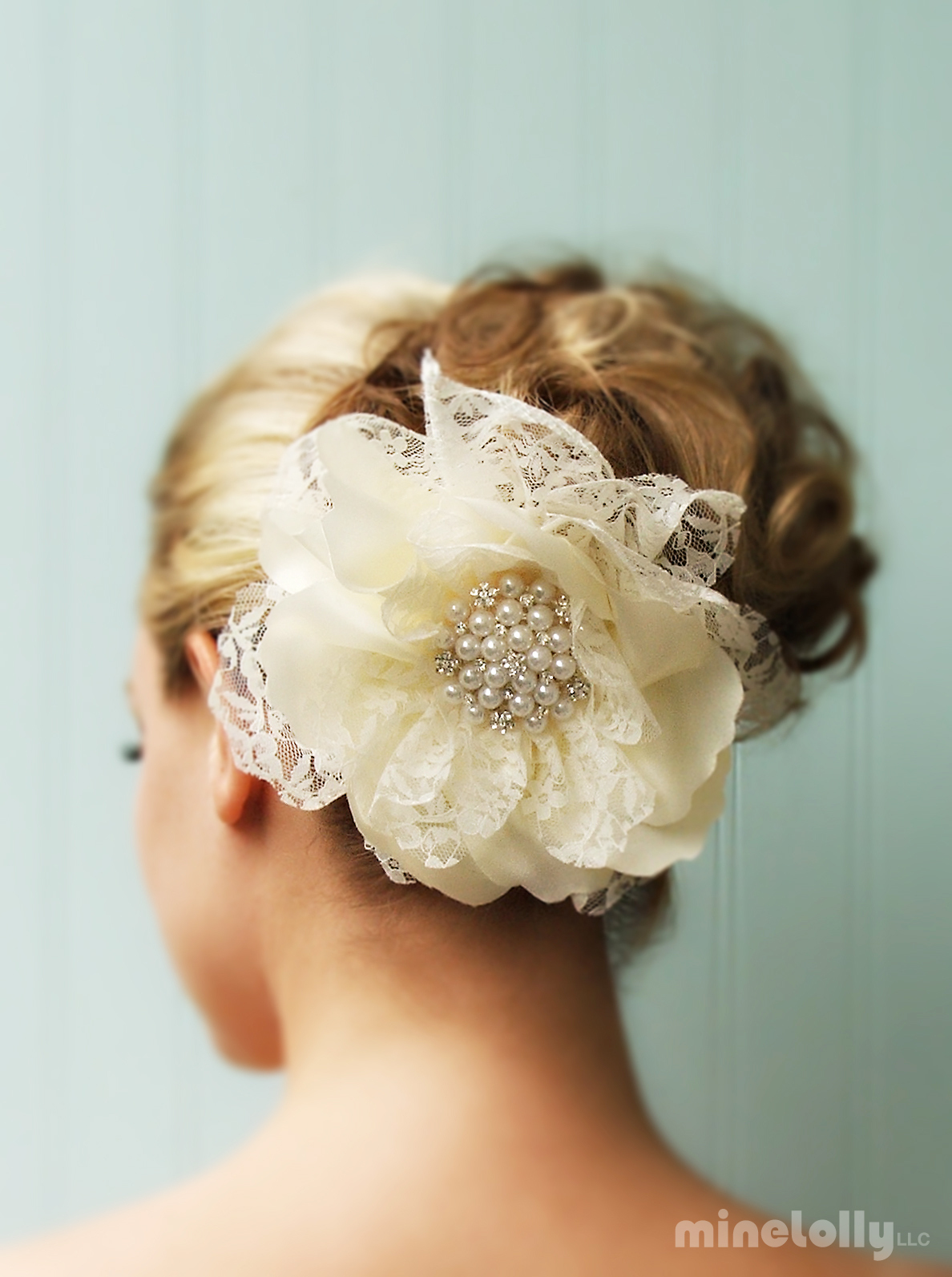 Beauty, Flowers & Decor, Updo, Flower, Hair, Lace, Cream, Fascinator, Piece, Minelolly