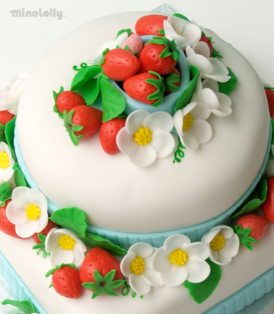 Cakes, white, red, blue, green, cake, Spring, Wedding, Fondant, Blossoms, Strawberry, Strawberries, Tier, Two, Minelolly llc