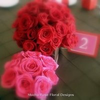 Reception, Flowers & Decor, pink, red, brown, Centerpieces, Modern, Flowers, Modern Wedding Flowers & Decor, Centerpiece, Low, Rose, Cube, Magenta
