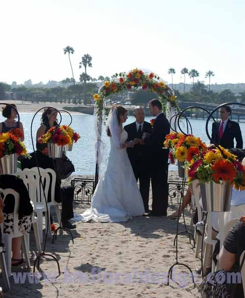 Ceremony, Flowers & Decor, Decor, yellow, orange, pink, Beach, Ceremony Flowers, Aisle Decor, Flowers, Beach Wedding Flowers & Decor, Wedding, Aisle