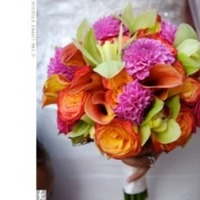 Flowers & Decor, orange, pink, green, Flowers