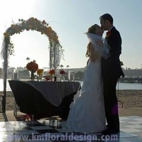 Reception, Flowers & Decor, yellow, orange, pink, Beach, Flowers, Beach Wedding Flowers & Decor, Wedding