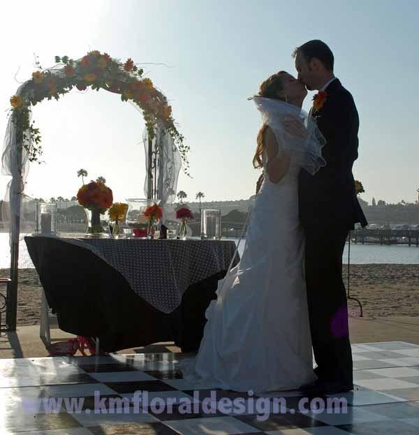 Reception, Flowers & Decor, yellow, orange, pink, Beach, Flowers, Beach Wedding Flowers & Decor, Wedding