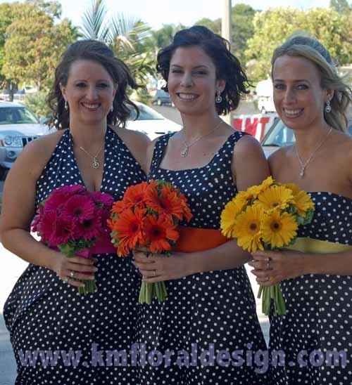 Flowers & Decor, Bridesmaids, Bridesmaids Dresses, Fashion, yellow, orange, pink, Bridesmaid Bouquets, Flowers, Bouquets, Flower Wedding Dresses