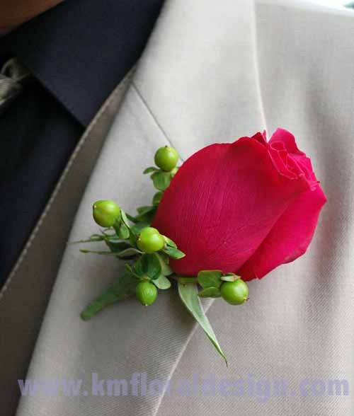 Flowers & Decor, pink, green, Boutonnieres, Flowers, Rose, Boutonniere, Berries