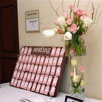 Reception, Flowers & Decor, white, pink, Flowers, Table, And, Tulips, Placecard