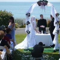Ceremony, Reception, Flowers & Decor, Decor, white, pink, blue, green, Ceremony Flowers, Flowers, Wedding, Arch, Backdrop
