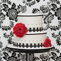 Inspiration, Reception, Flowers & Decor, Cakes, white, red, black, cake, Board