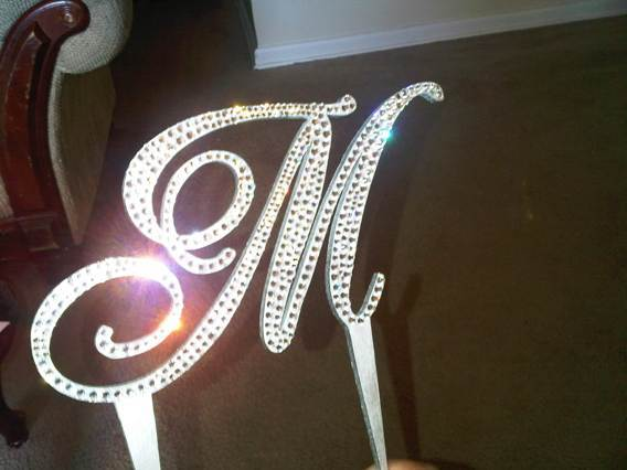 Reception, Flowers & Decor, Cakes, silver, cake, Monogrammed Wedding Cakes, Monogram, Topper