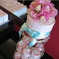 Inspiration, Reception, Flowers & Decor, Cakes, pink, purple, blue, cake, Board