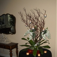 Reception, Flowers & Decor, white, green, black, Centerpieces, Branches, Manzanita, Trees