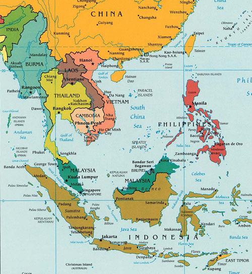 Map, Thailand-malaysia