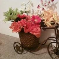Reception, Flowers & Decor, white, yellow, orange, pink, green, black, Vintage, Flowers, Vintage Wedding Flowers & Decor, Manzanita, Motorcycle, Bicycle