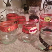 DIY, Reception, Flowers & Decor, yellow, orange, black, Vase, Plaid, Ribbon, Votive, Glass, Holder, Bud, Jars, Mason, Polkadot