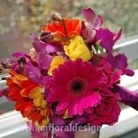 Beauty, Flowers & Decor, Bridesmaids, Bridesmaids Dresses, Fashion, yellow, orange, pink, purple, Bride Bouquets, Bridesmaid Bouquets, Flowers, Bouquet, Hair, Colorful, Flower Wedding Dresses