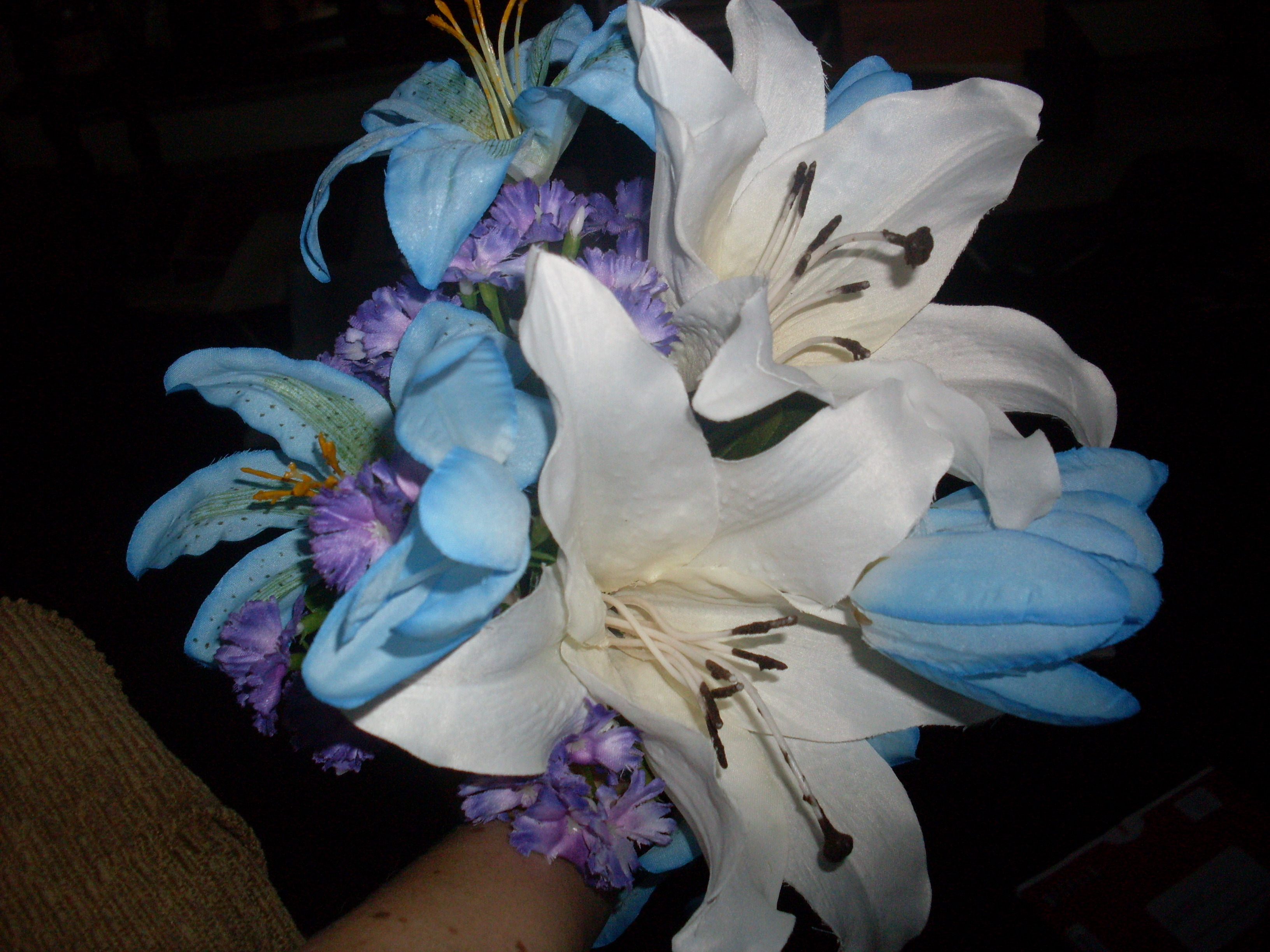 Flowers & Decor, white, purple, blue, Flowers, Lilies, Bouquets, Violets