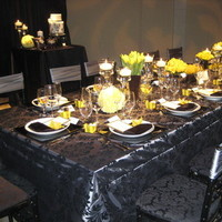 Flowers & Decor, Decor, green, black, Table, Damask