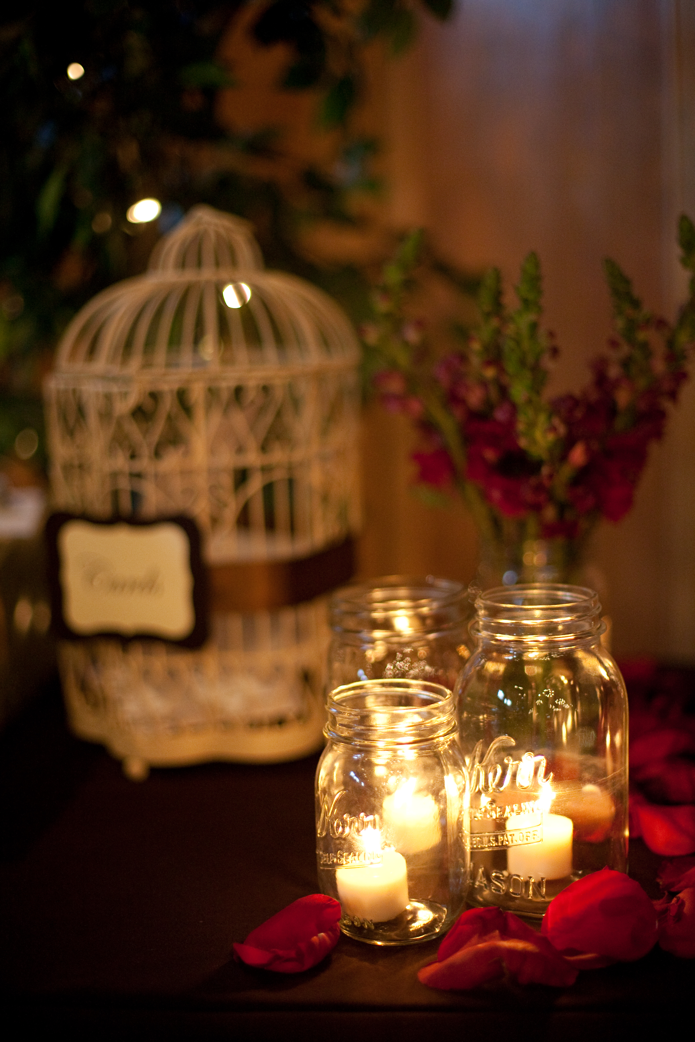 red, Rustic Wedding Flowers & Decor