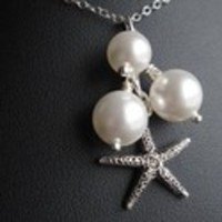 Jewelry, white, silver, Necklaces, Beach, Bridesmaid, Bridal, Starfish, Necklace, Swarovski, Pearl, Pendant, Sterling, Chain, Handcrafted, Europeanbride