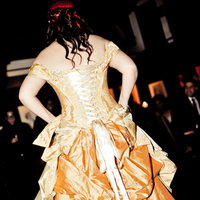 Beauty, Wedding Dresses, Fashion, red, black, gold, dress, Hair, Corset