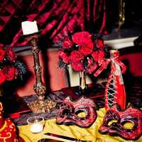 Reception, Flowers & Decor, Decor, red, black, gold
