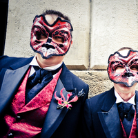 red, black, gold, Groomsmen, Masquerade